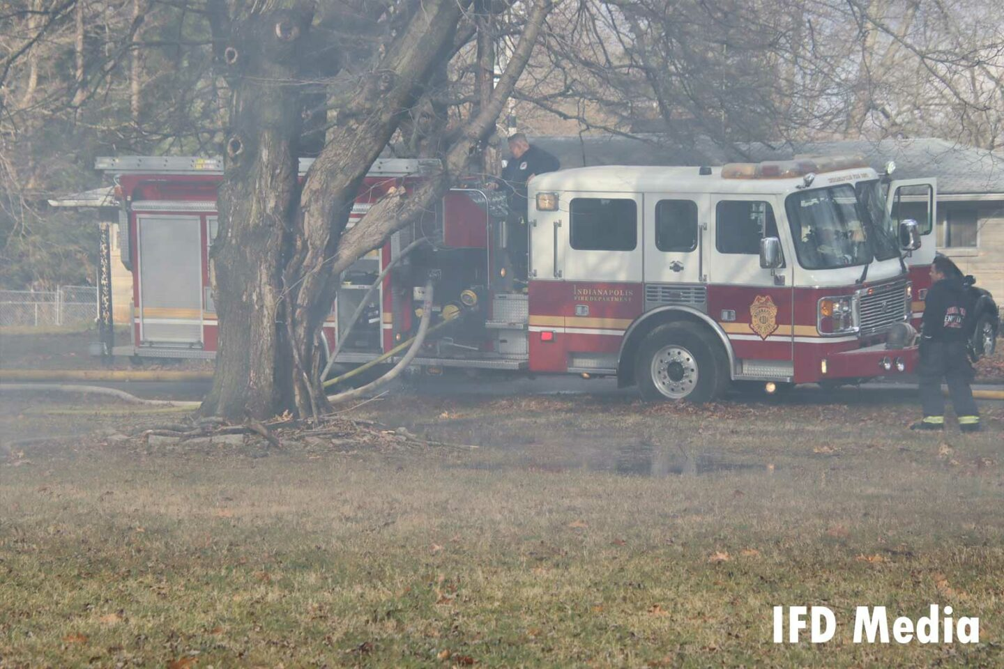 Fire truck at the fire scene