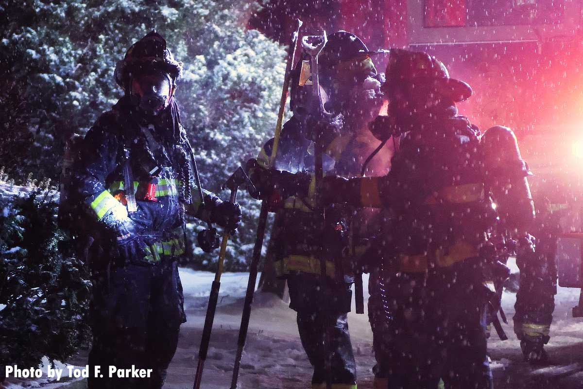 Firefighters in the snow