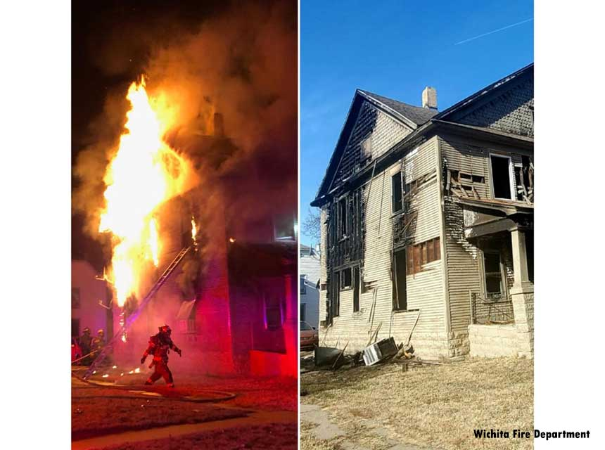 Flames shoot from a Wichita fire and then fire damage to the home