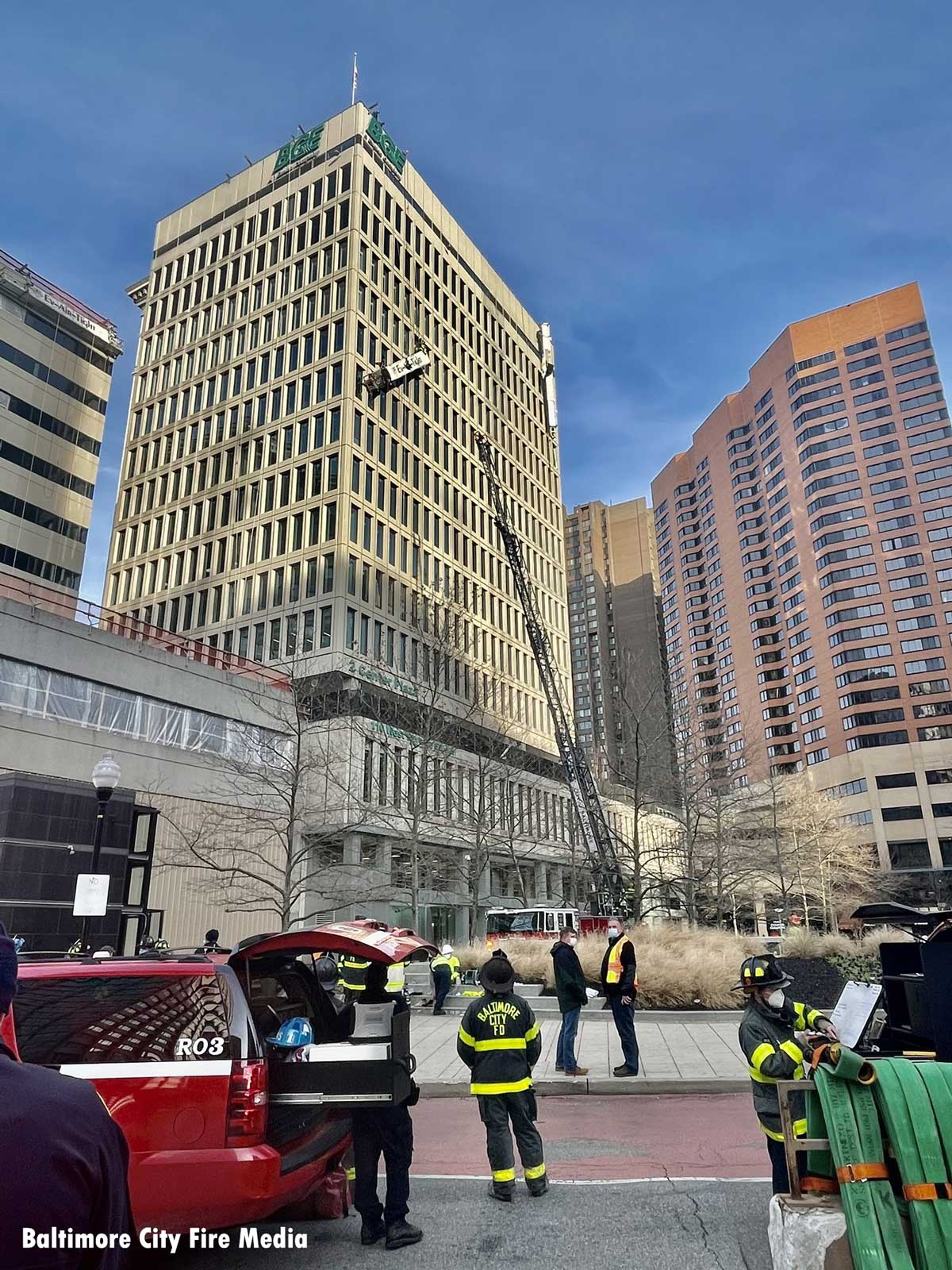 Firefighters respond to an explosion and rescue situation in Baltimore