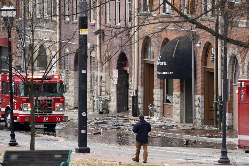 Fire truck at scene of Nashville explosion