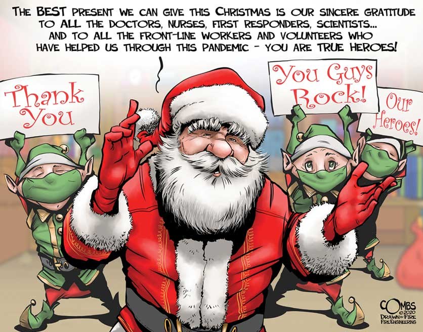 Santa and elves with masks