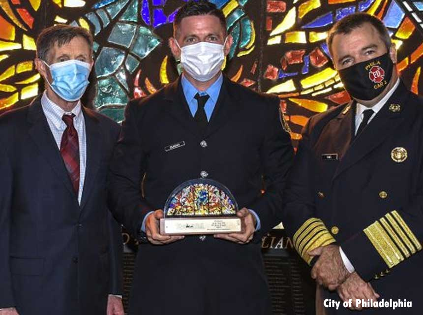 Firefighter Sean Dugan receives firefighter of the year award for Philadelphis