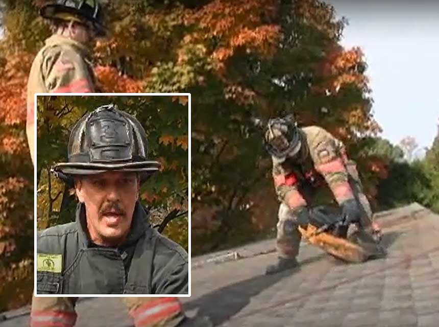 Mike Ciampo with other firefighters performing teepee cut on a roof