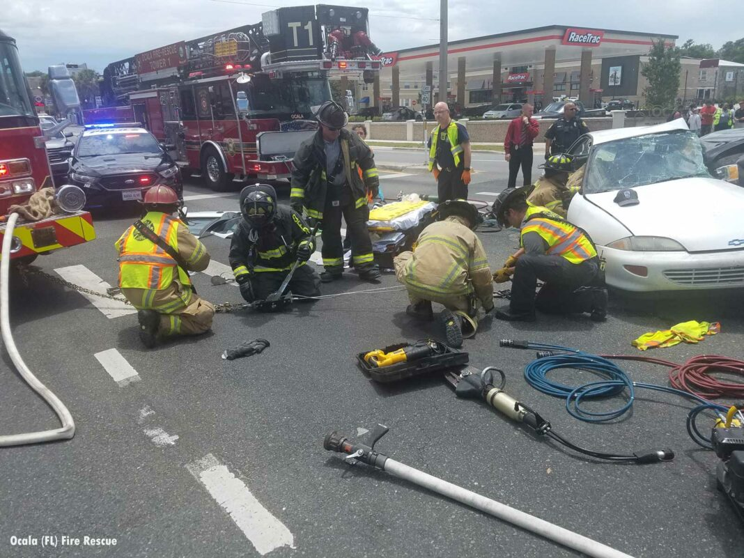 Ocala Fire Rescue firefighters on scene of a motor vehicle accident in 2020