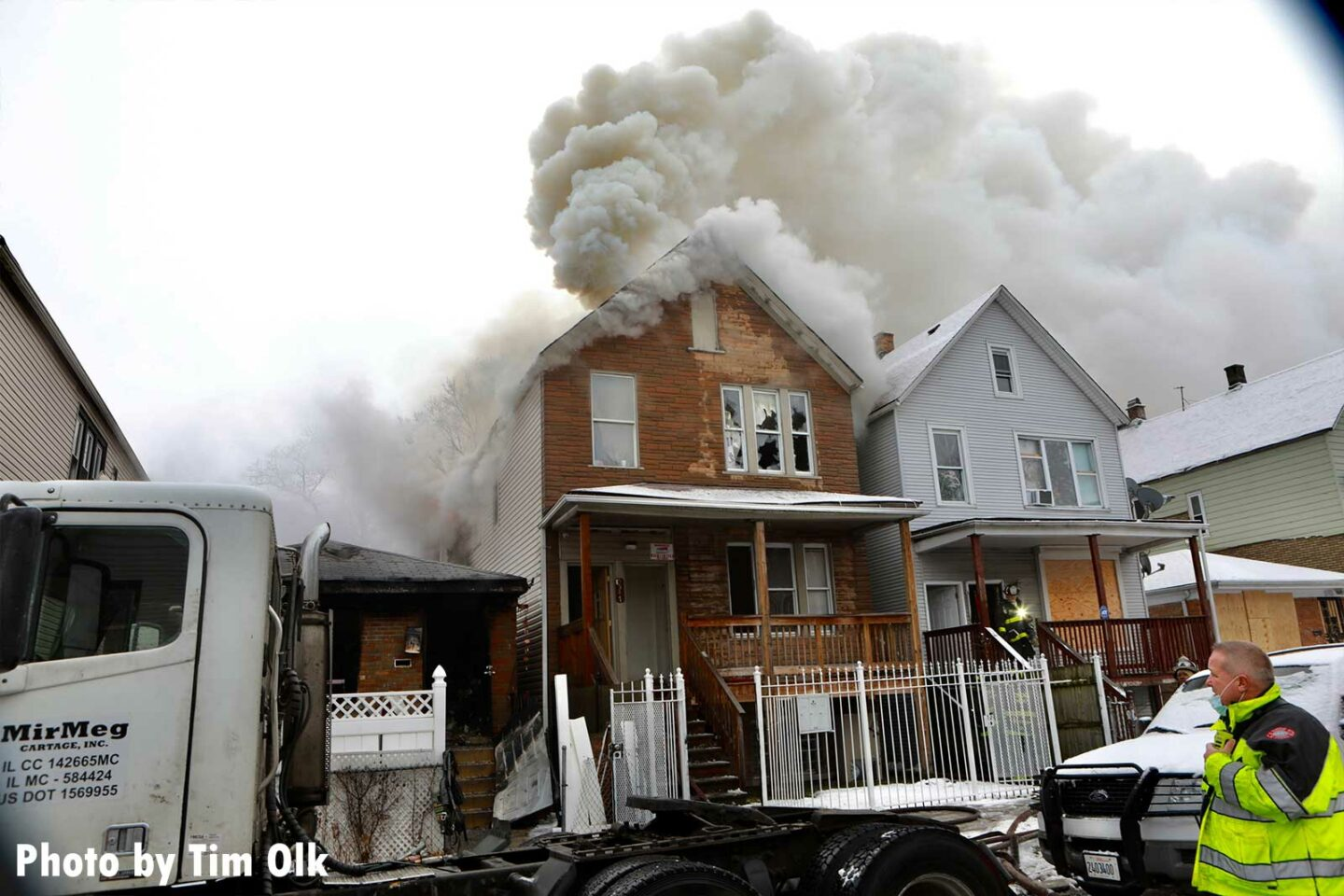 Smoke vents from events and upper areas of a house in Chicago