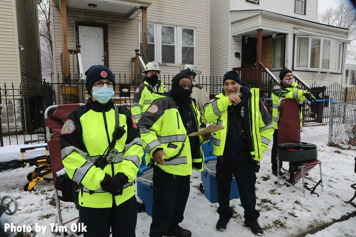 EMS members on scene of the Chicago fire