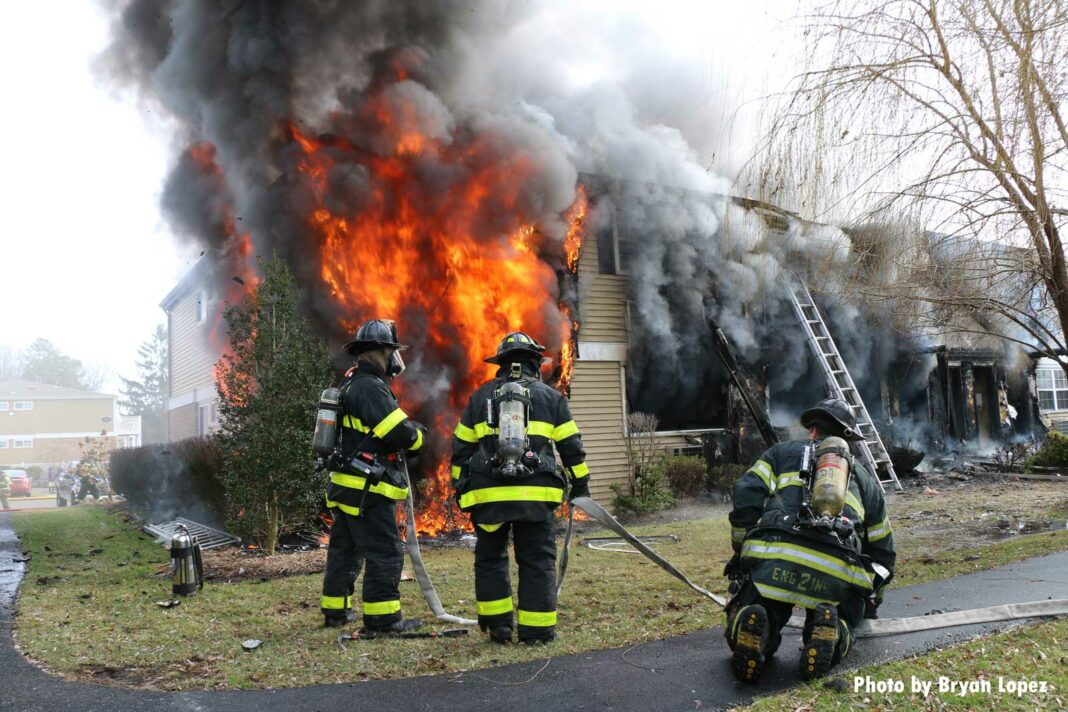 Firefighters face raging flames at a house fire on Long Island