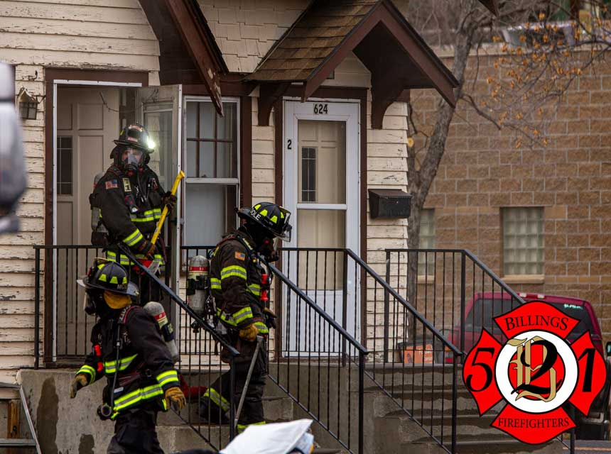 Billings MT firefighters at the scene of an apartment house fire