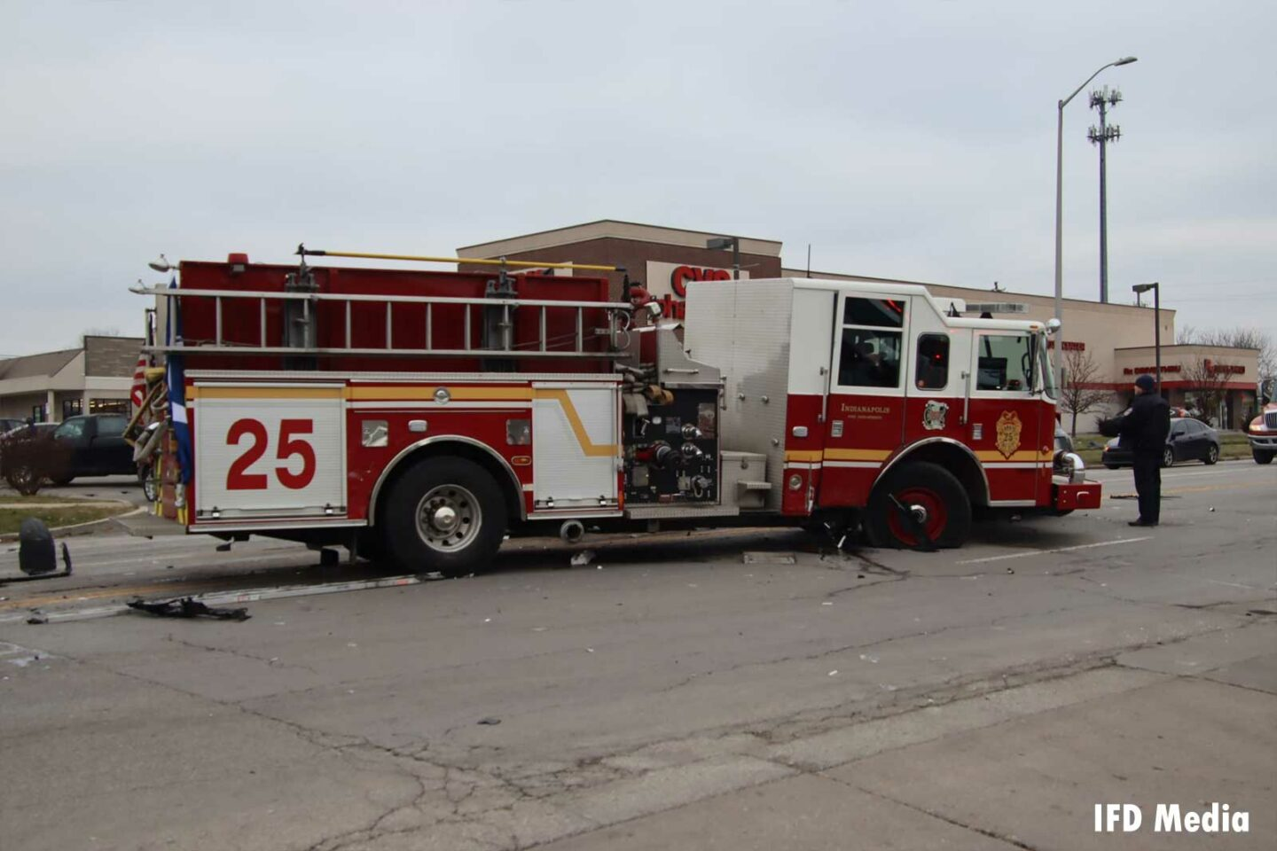 Indy Fire Engine 25 after collision