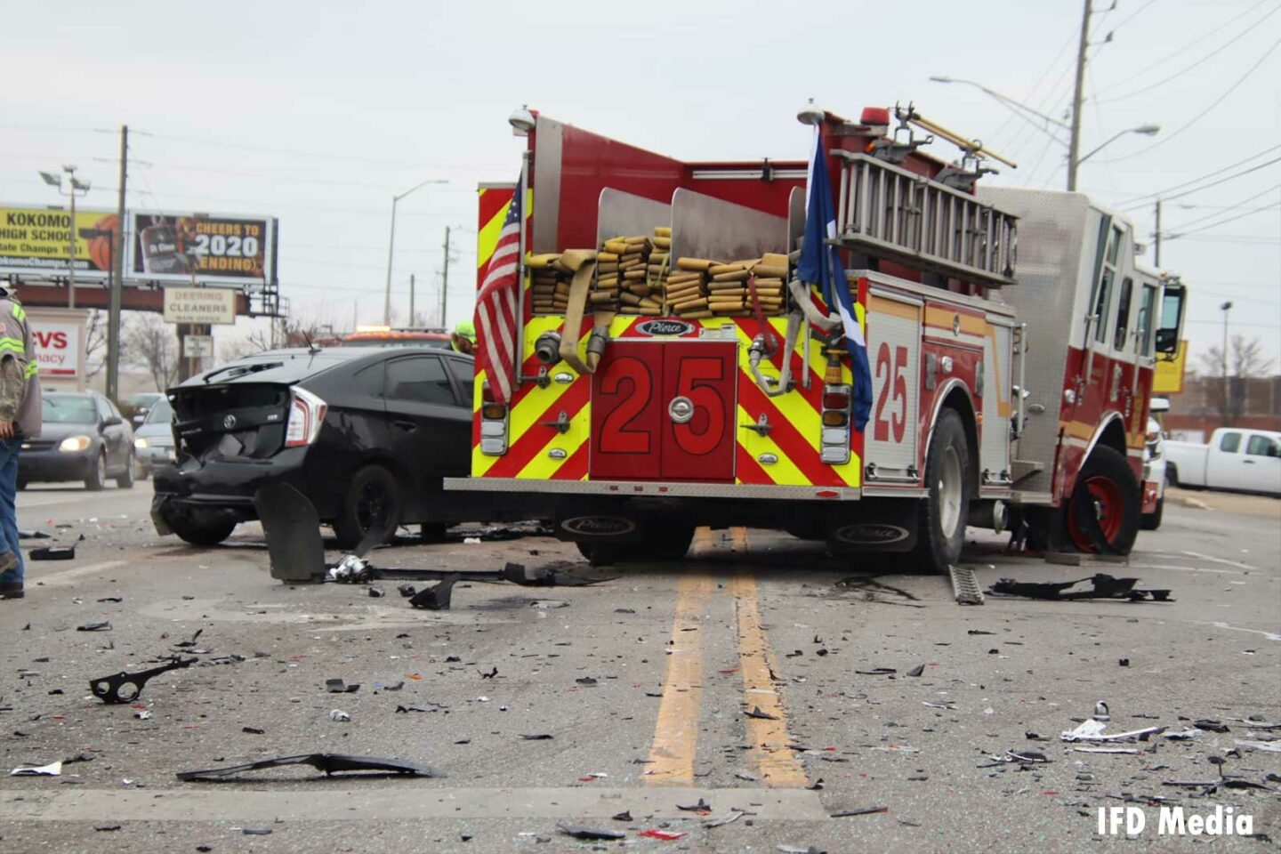 Indianapolis fire engine after crash with vehicles