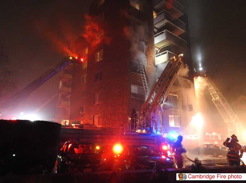 Firefighters at four-alarm Cambridge MA fire