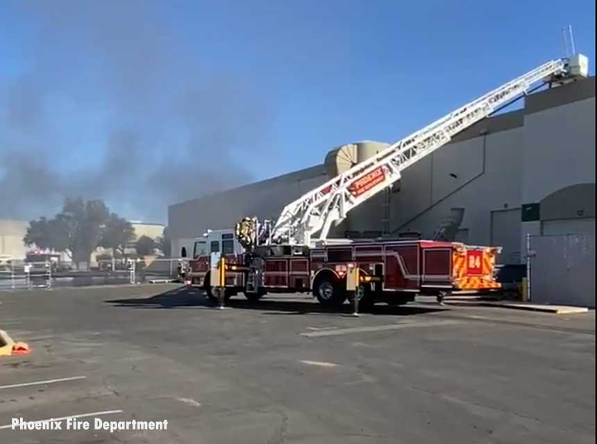 Phoenix firefighters at scene of January 2021 recycling center fire