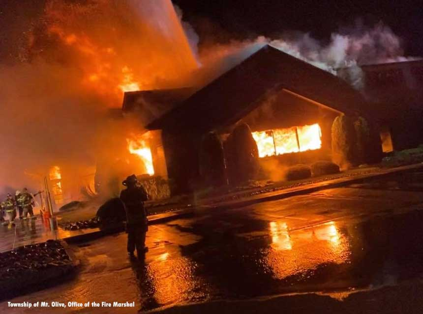 Firefighters on scene at a fire that destroyed a restaurant in Morris County, New Jersey