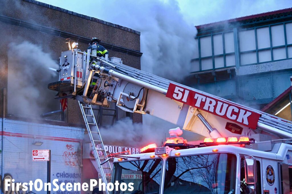 FDNY tower ladder in use at Bronx fire
