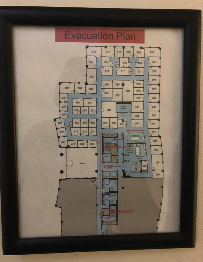 The building's evacuation plan and floor map help in determining the stairwell where most occupants may be evacuating when considering the most strategic staging for the RITs. It also prepares RITs for confusing floor layouts and the locations of alternative exits.
