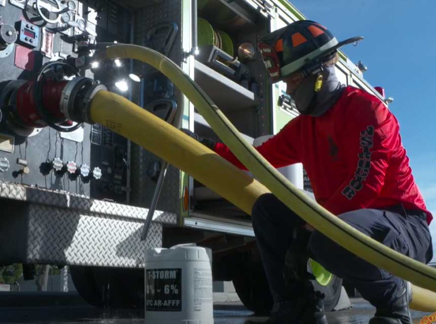 Miami-Dade firefighter training on pump operations