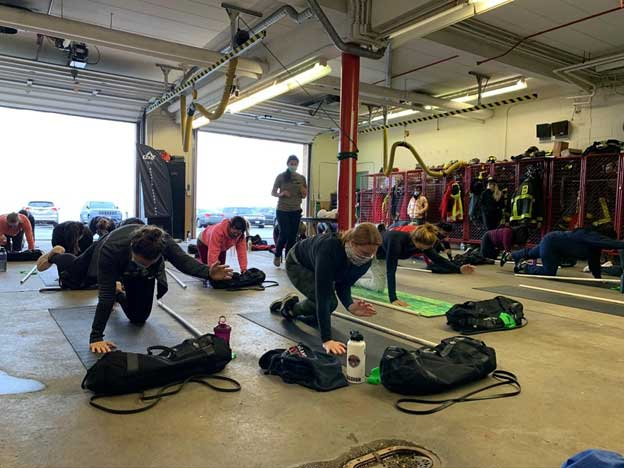 Strength and conditioning session for firefighters