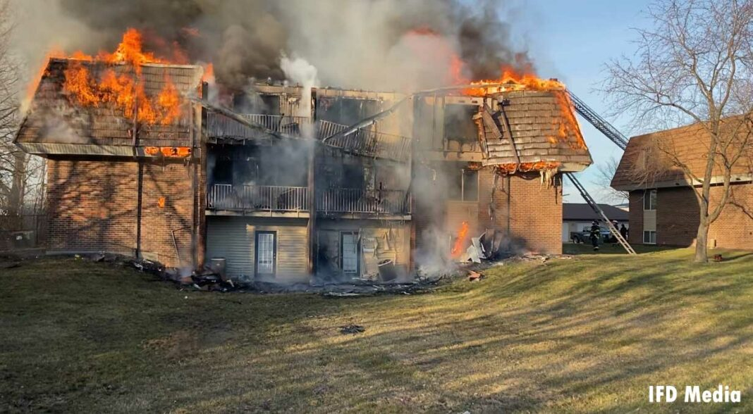 Flames rip through an apartment building in Indianapolis