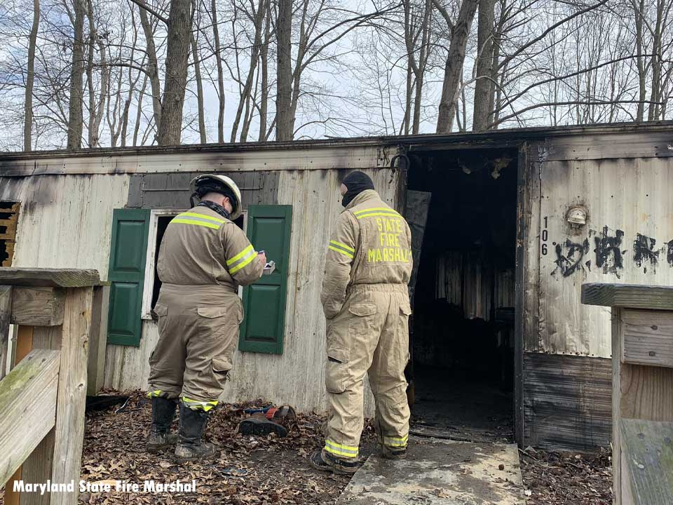 Firefighters at the scene of a fire in North East, Maryland