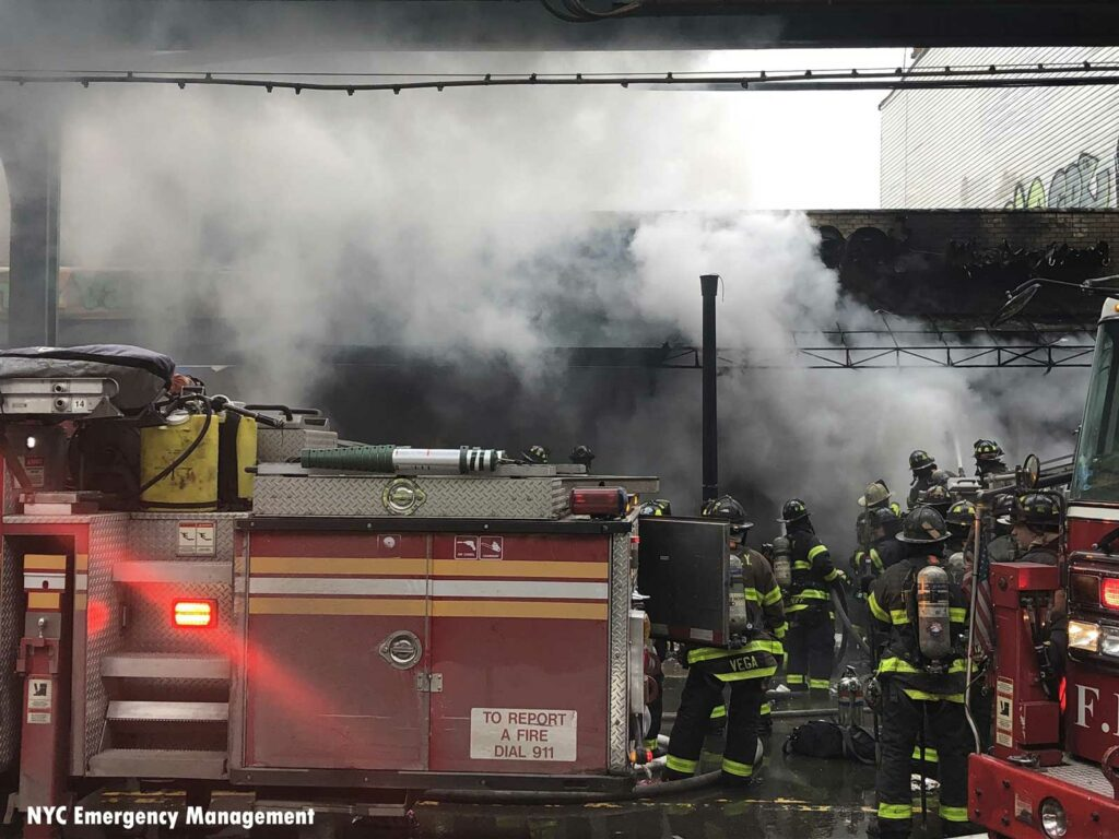 FDNY rigs and firefighters at Queens fire