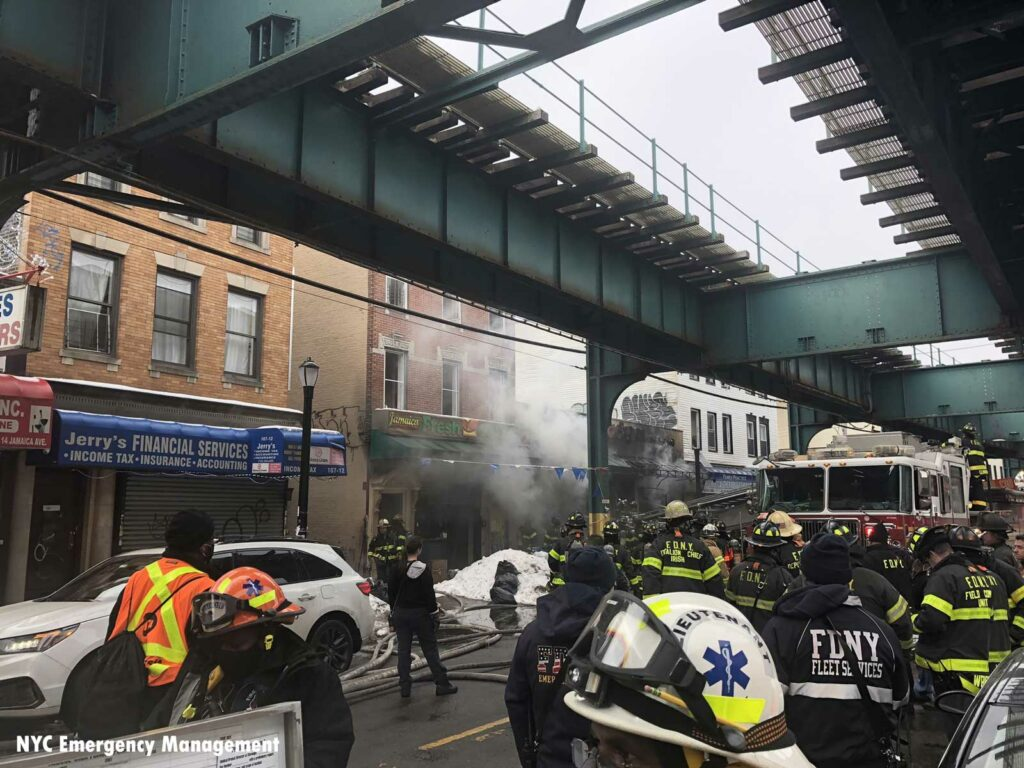 FDNY EMS and firefighters at five-alarm fire in Queens, New York