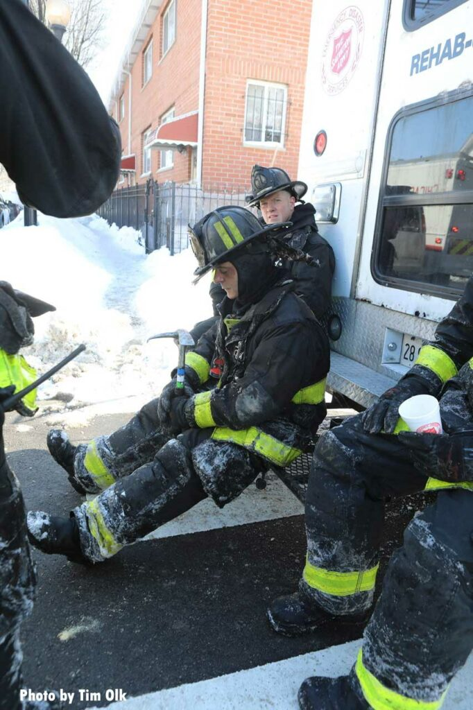 Chicago firefighters rehab at fire scene