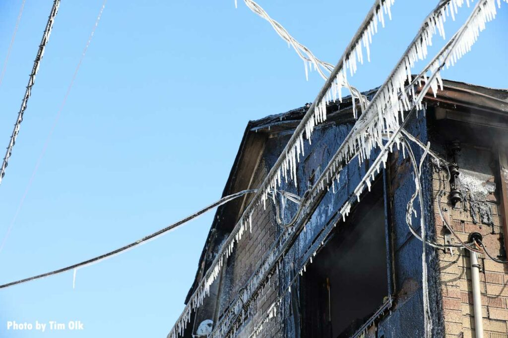 Iced power lines at house fire scene