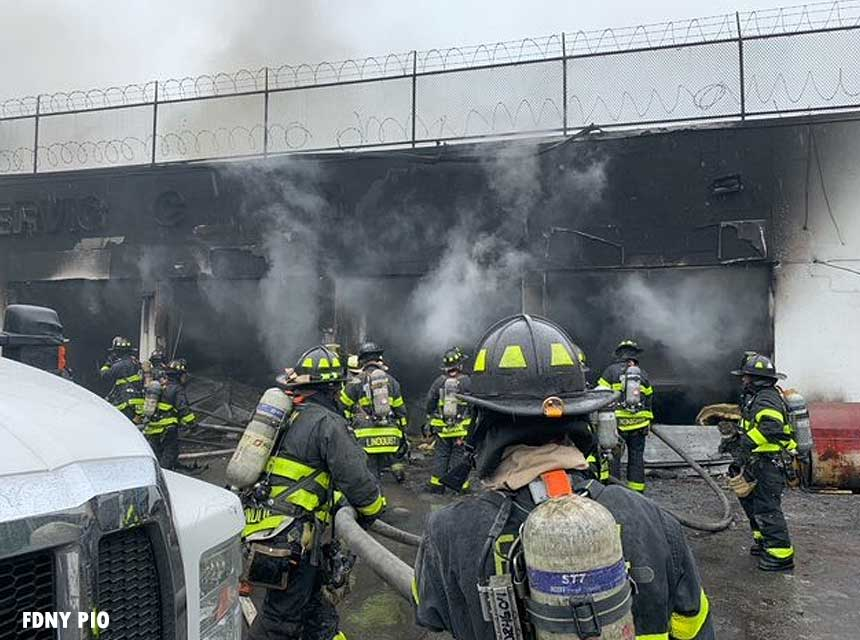 FDNY crews at scene of commercial fire in Brooklyn