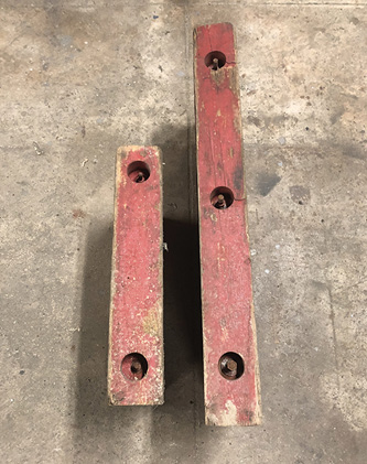 These pieces of cribbing are through bolted with threaded rod and pieced together to form a substantial base for outriggers and jacks.