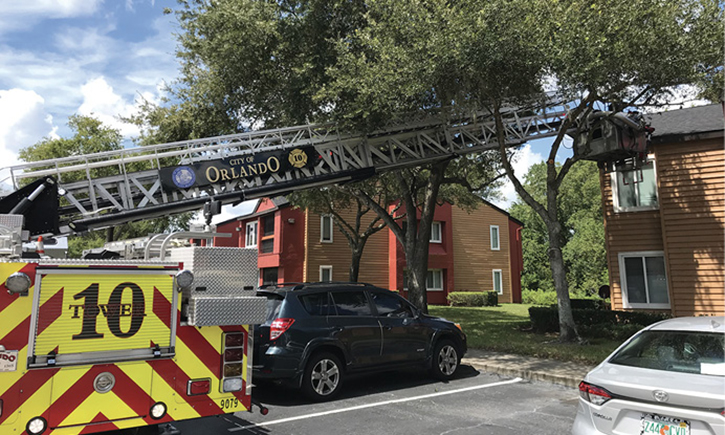Overhead tree limbs and branches can be removed if the apparatus can't boom through them to reach the fire building.