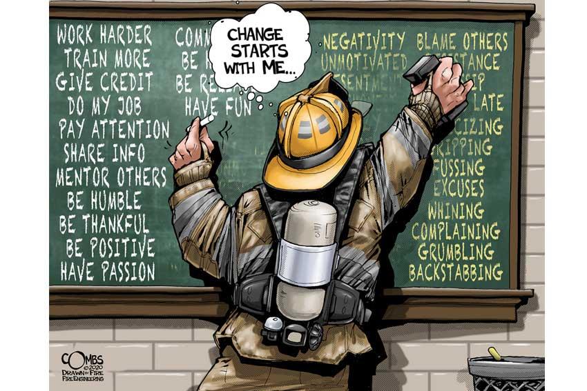Firefighter writing on blackboard