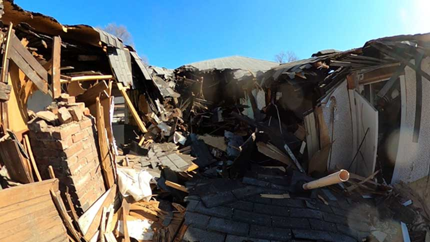 Residential building collapse scene