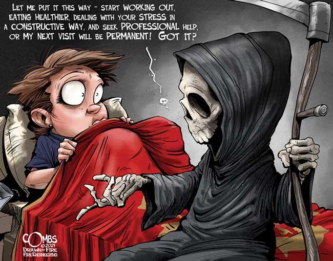 Grim reaper at bedside of firefighter