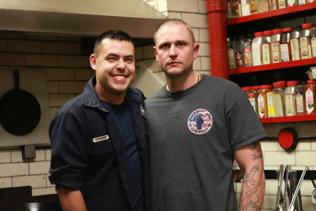 Detroit Firefighters Alex Rodriguez and Mark Taylor