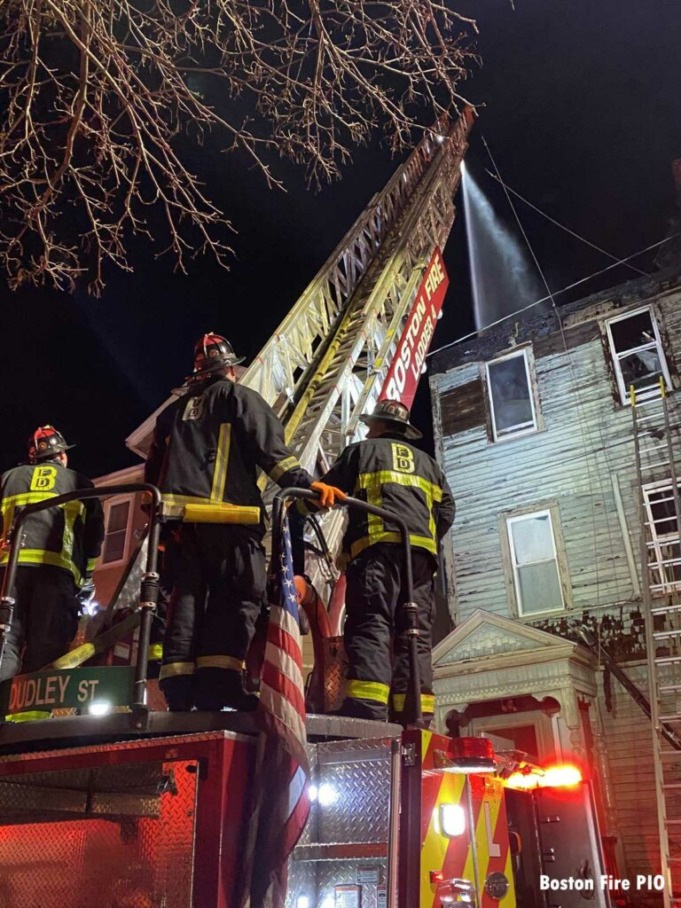 Night falls on Boston fire with Ladder 4