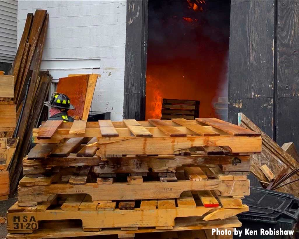 The fire occurred in a garage that produces wooden pallets
