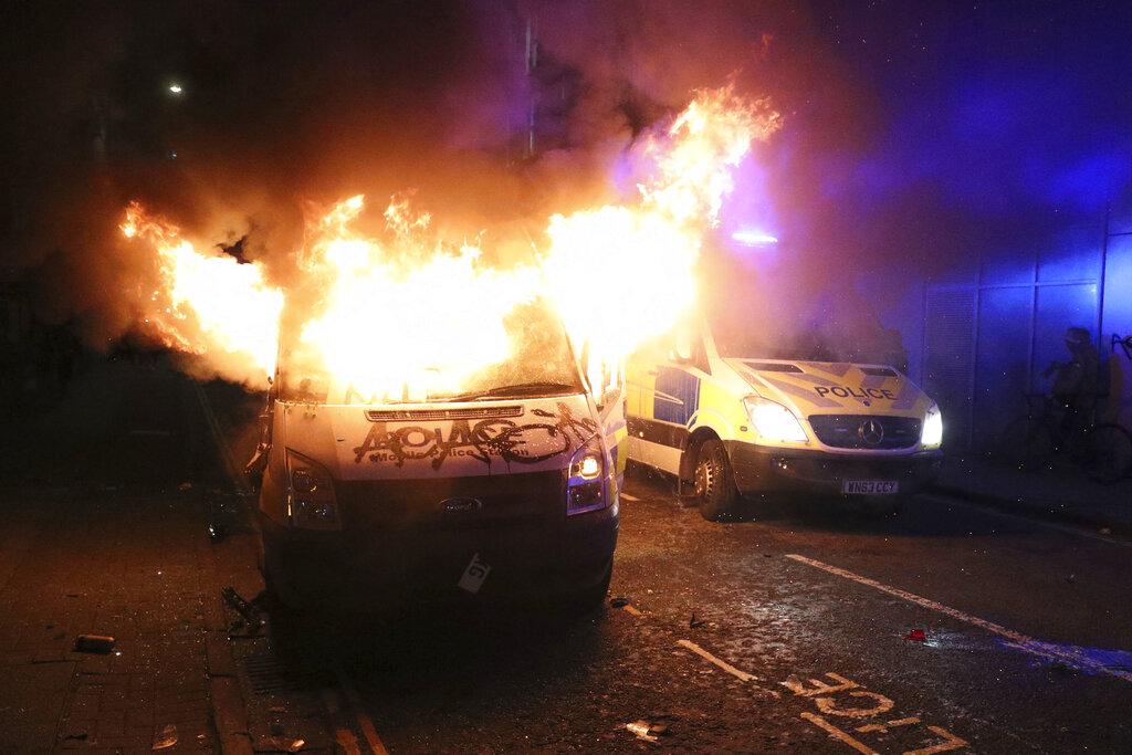 Car burns in Bristol, England