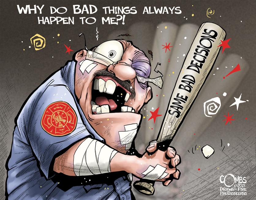 Banged-up firefighter holding a bat