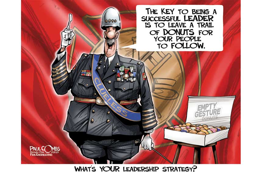 Fire officer leaving trail of doughnuts