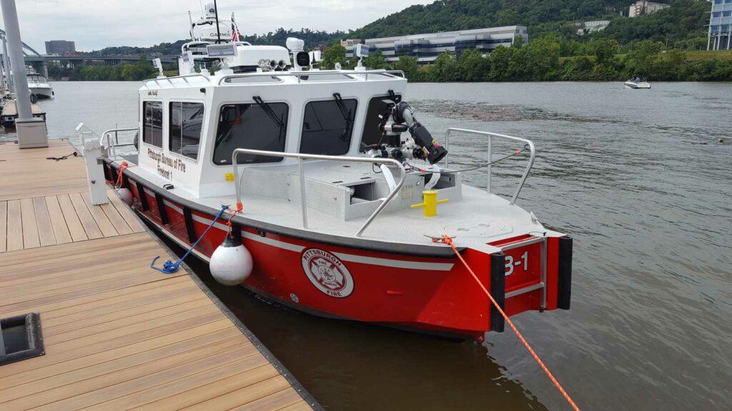 Fireboat docked