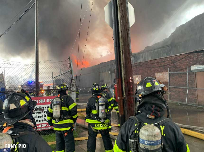 FDNY crews at a March 31 Staten Island fire that left several members injured