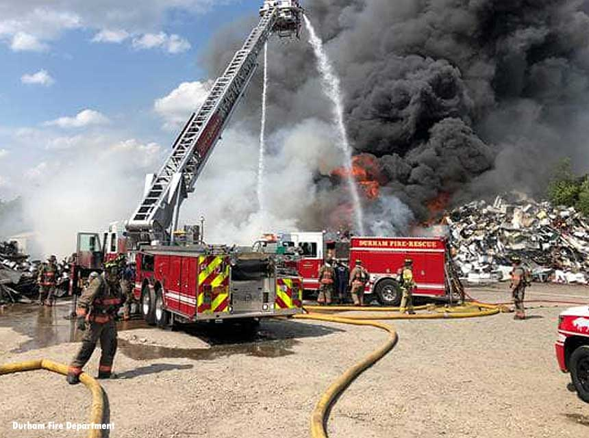 Durham auto recycling facility fire