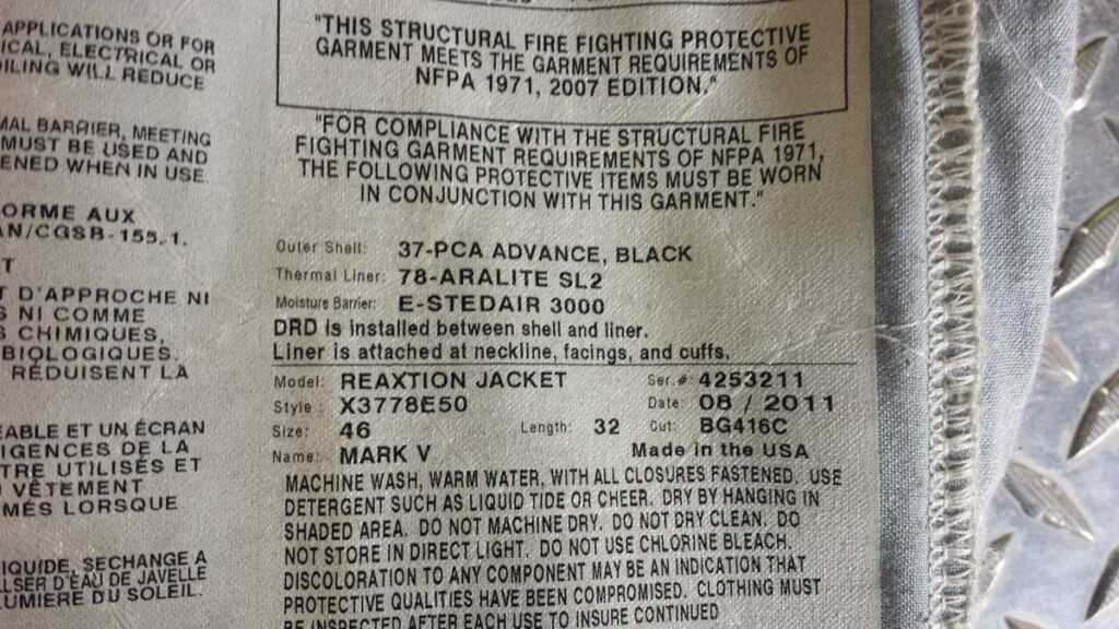 Firefighter turnout gear garment requirements