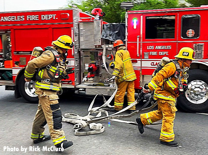 LAFD firefighters respond to a vehicle fire