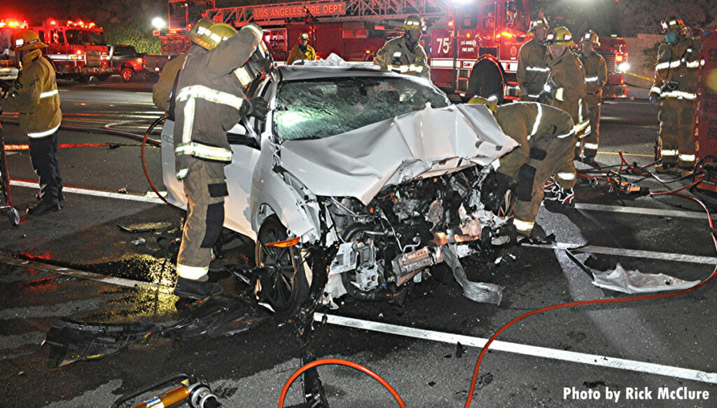 Firefighters make cuts during vehicle accident response in Los Angeles