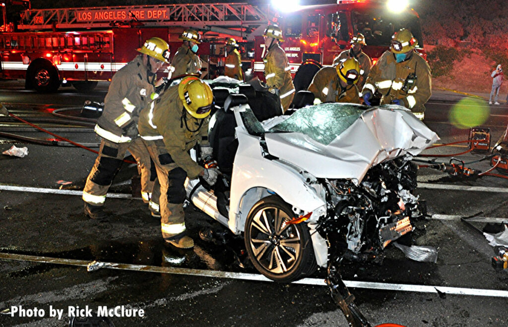 Firefighters perform vehicle extrication operations in Los Angeles