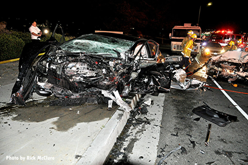 Damage at crash scene in Los Angeles
