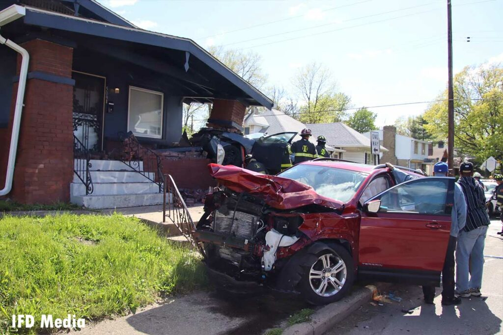 Two cars that collided and sent one barreling into a home