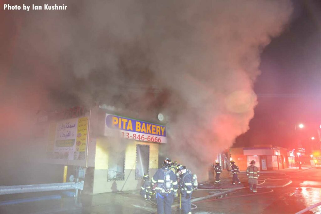 Firefighters respond to a commercial fire in Dearborn, Michigan